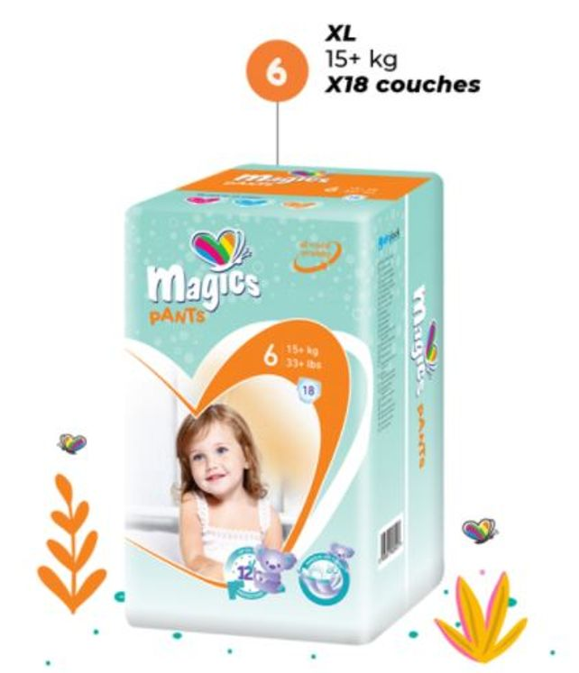 COUCHES CULOTTE MAGICS TAILLE 6  (1 PAQUET)